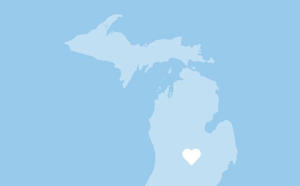 Map of Michigan with heart symbol